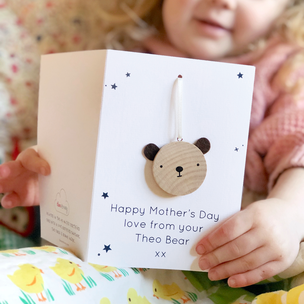 Personalised Mother's Day Bear Token Card - Clara and Macy