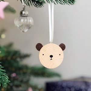 Personalised First Christmas Bear Decoration Card - Clara and Macy
