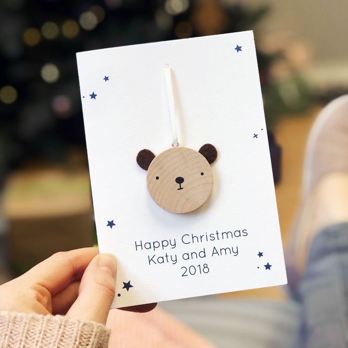 Personalised Christmas Bear Decoration Card - Clara and Macy