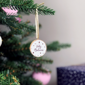 Personalised Tiny 'I Believe' Christmas Tree Decoration - Clara and Macy