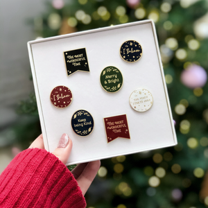 A Box Of Christmas Enamel Pin Badges - Clara and Macy