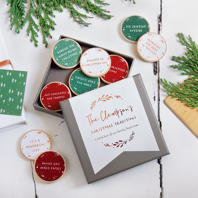 Personalised Family Christmas Traditions Foiled Tokens - Clara and Macy