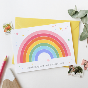 Rainbow Sending A Hug Card - Clara and Macy