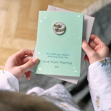 Personalised 'A Hug For Daddy' Pin Badge Card - Clara and Macy