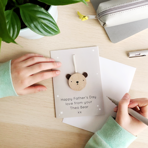 Personalised Father's Day Wooden Bear Token Card - Clara and Macy