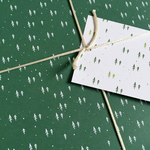 Tiny Green Trees Wrapping Paper Set - Clara and Macy