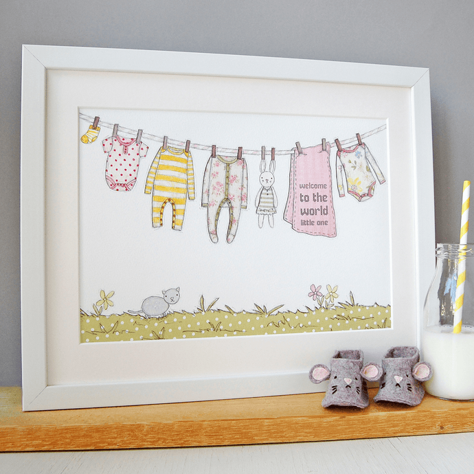 Personalised Welcome To The World New Baby Print / Pinks And Yellows - Clara and Macy