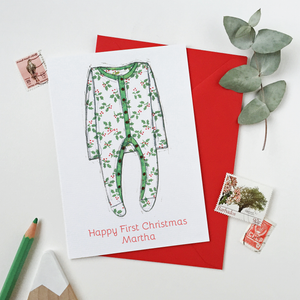 Personalised Baby Onesie First Christmas Card