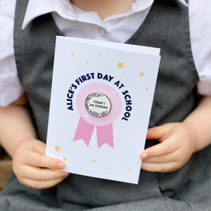 First Day At School 'Today I Am' Pin Badge Card
