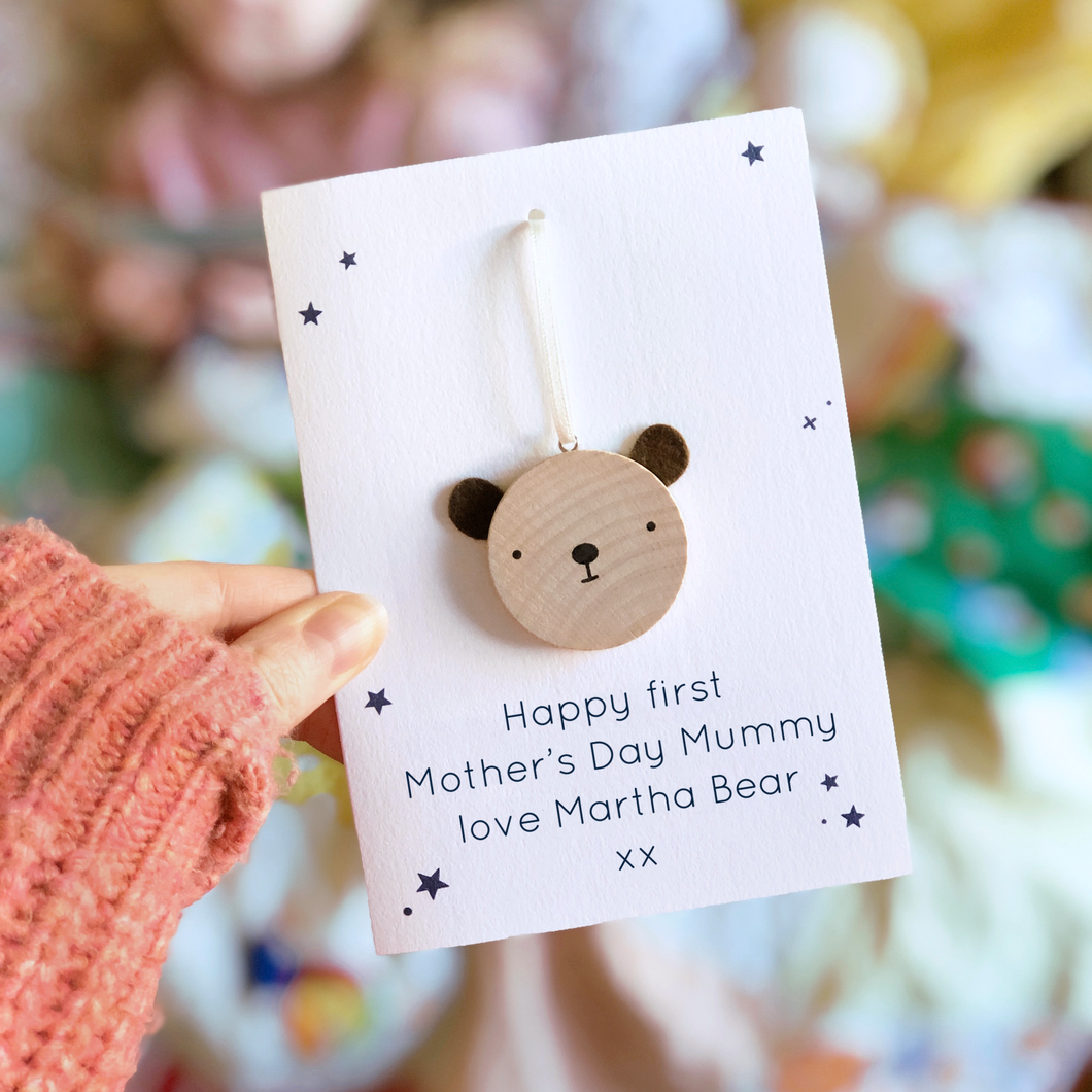 Personalised First Mother's Day Bear Token Card - Clara and Macy