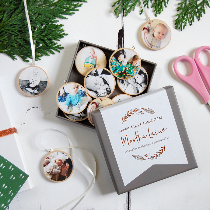 Personalised First Christmas Photograph Decorations Box - Clara and Macy