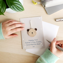 Personalised First Father's Day Wooden Bear Token Card - Clara and Macy