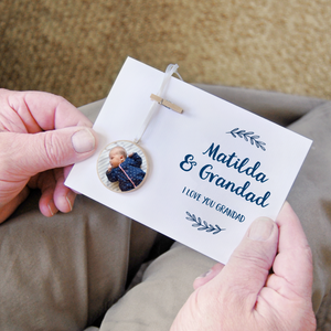 Personalised Grandad And Me Photograph Keepsake Card - Clara and Macy
