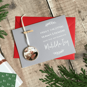 Personalised New Grandparents Christmas Keepsake Card - Clara and Macy
