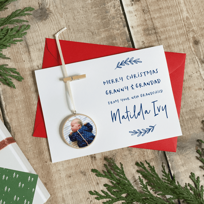 Personalised New Grandparents Christmas Keepsake Card