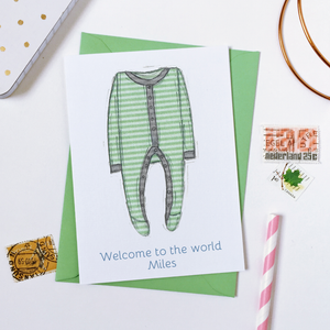 Personalised New Baby Onesie Card / Greens And Greys
