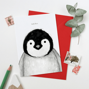 Hello There Baby Penguin Card