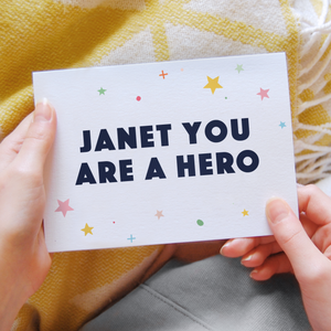 You Are A Hero Personalised Card - Clara and Macy