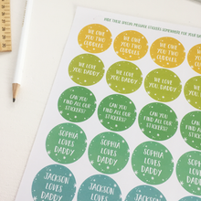 Personalised Daddy's Hide And Seek Message Stickers - Clara and Macy