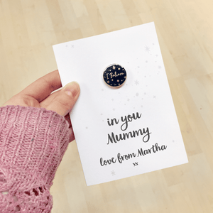 I Believe In Mummy Personalised Enamel Pin Card - Clara and Macy