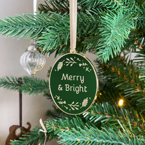Merry & Bright Enamel Christmas Tree Decoration