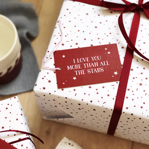Love You More White Stars Wrapping Paper Set - Clara and Macy