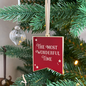 The Most Wonderful Time Enamel Christmas Tree Decoration