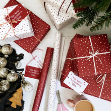 The Most Wonderful Time Red Christmas Wrapping Paper Set - Clara and Macy