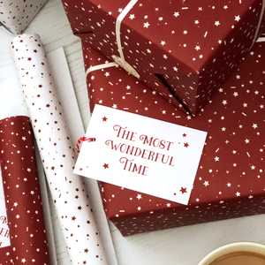 The Most Wonderful Time White Christmas Wrapping Paper Set - Clara and Macy