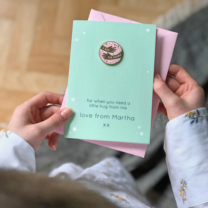 Personalised 'A Hug For Mummy' Pin Badge Card - Clara and Macy