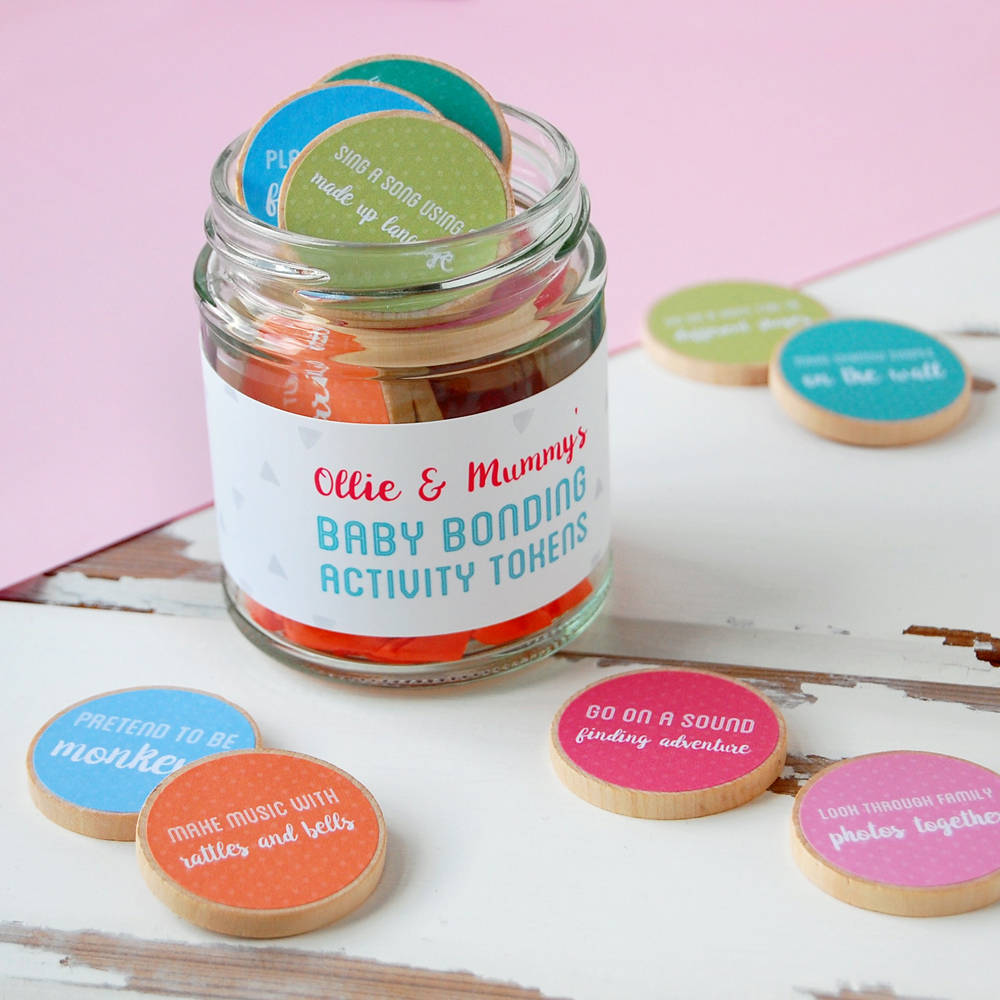 Personalised Mummy And Baby Bonding Tokens Jar - Clara and Macy