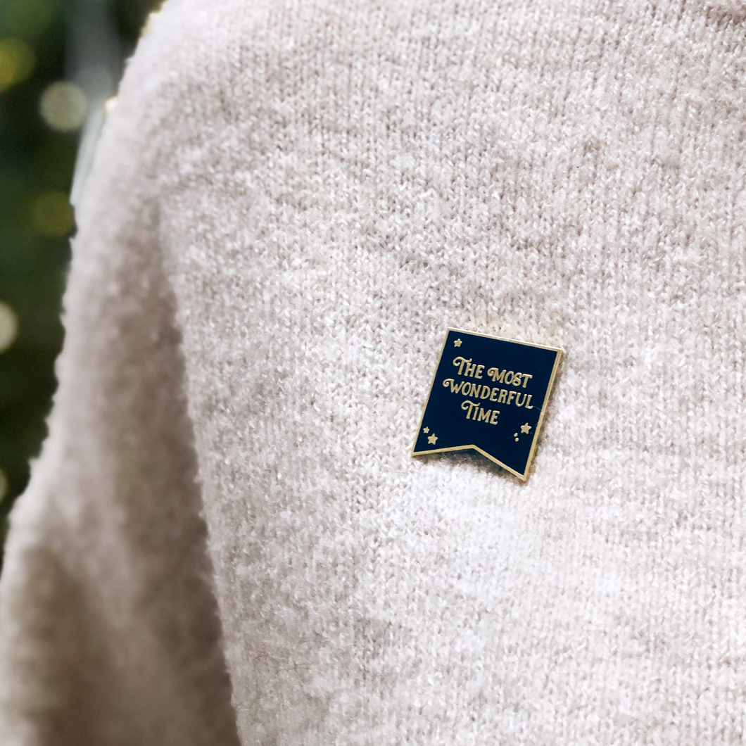 The Most Wonderful Time Navy Enamel Pin Badge - Clara and Macy
