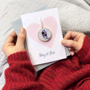 Personalised Couples Photograph Token Heart Card - Clara and Macy