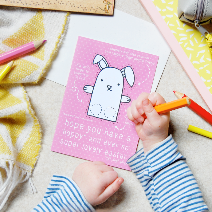 Rabbit Finger Puppet Easter Card - Clara and Macy