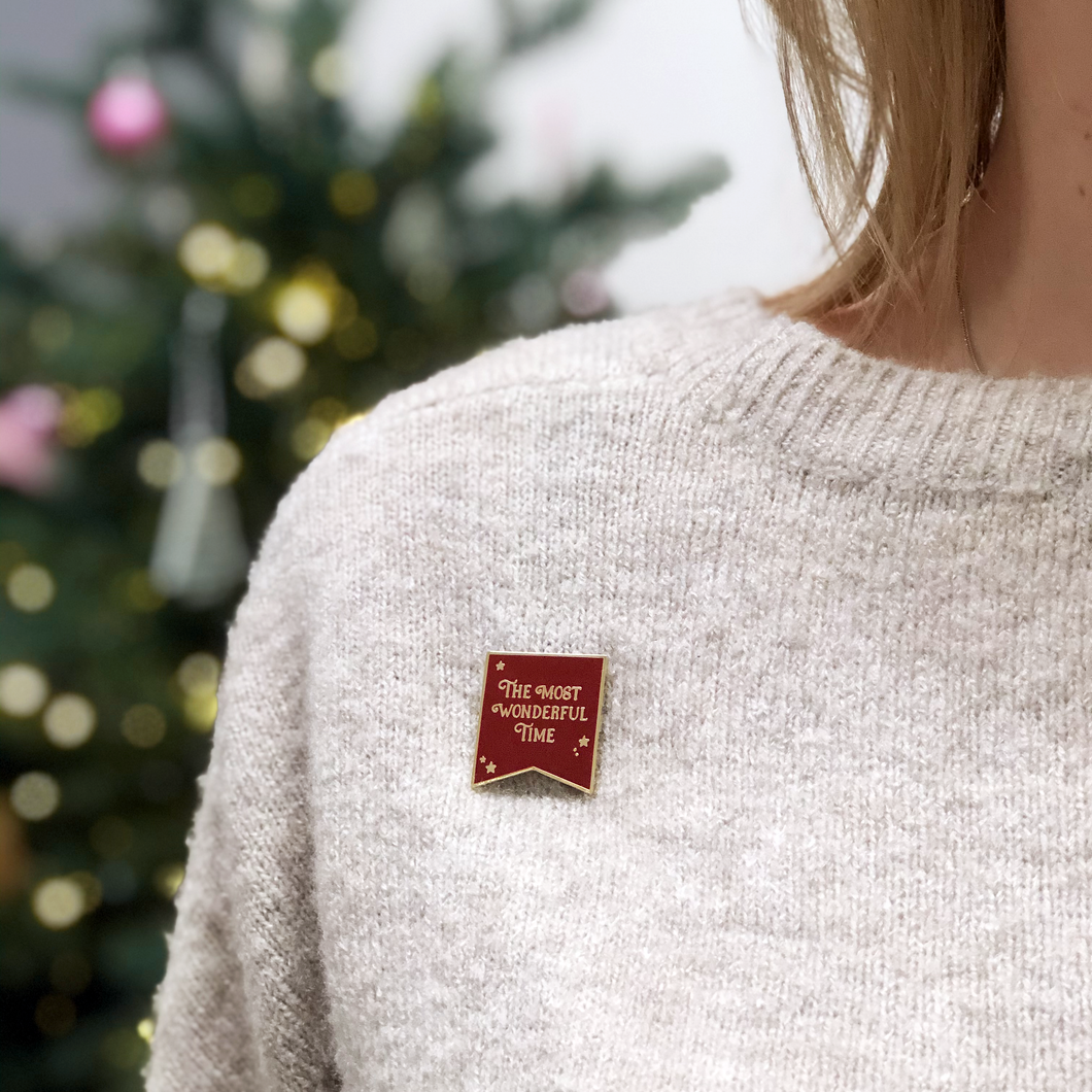 The Most Wonderful Time Red Enamel Pin Badge - Clara and Macy