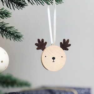 Personalised First Christmas Reindeer Decoration Card - Clara and Macy