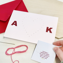 Stitch Your Own Personalised Couples Heart Card - Clara and Macy