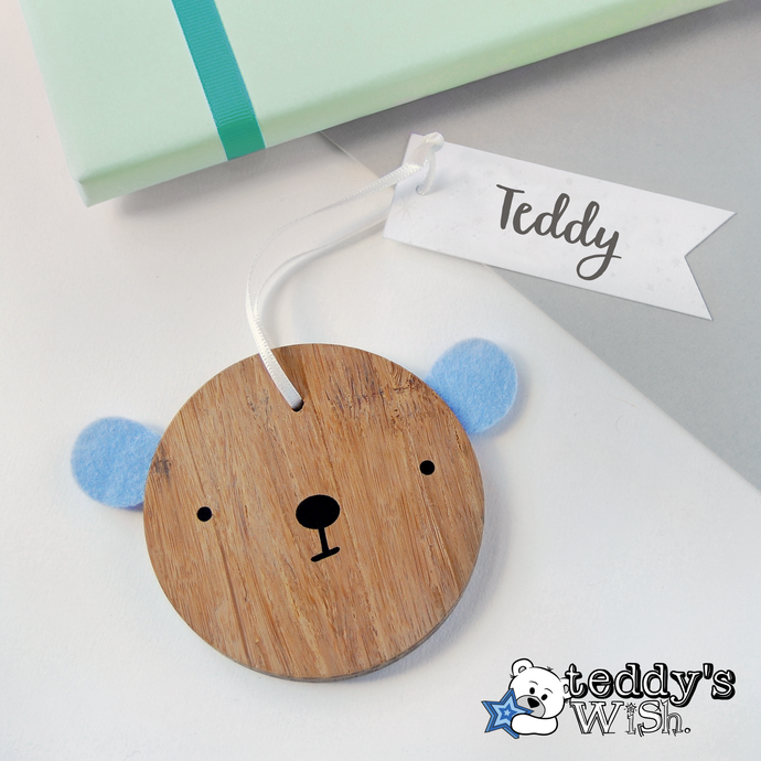 Personalised 'Teddy's Wish' Bear Christmas Decoration