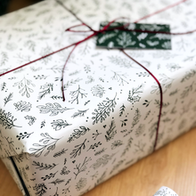 Festive Greenery White Wrapping Paper Set - Clara and Macy