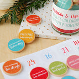 Personalised Advent Calendar Activity Tokens Jar - Clara and Macy
