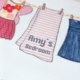 Personalised Little Girl's Washing Line Print - Clara and Macy