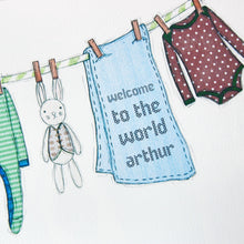 Personalised Welcome To The World New Baby Print / Greens And Blues - Clara and Macy