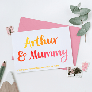 Personalised Mummy And Me Card - Clara and Macy