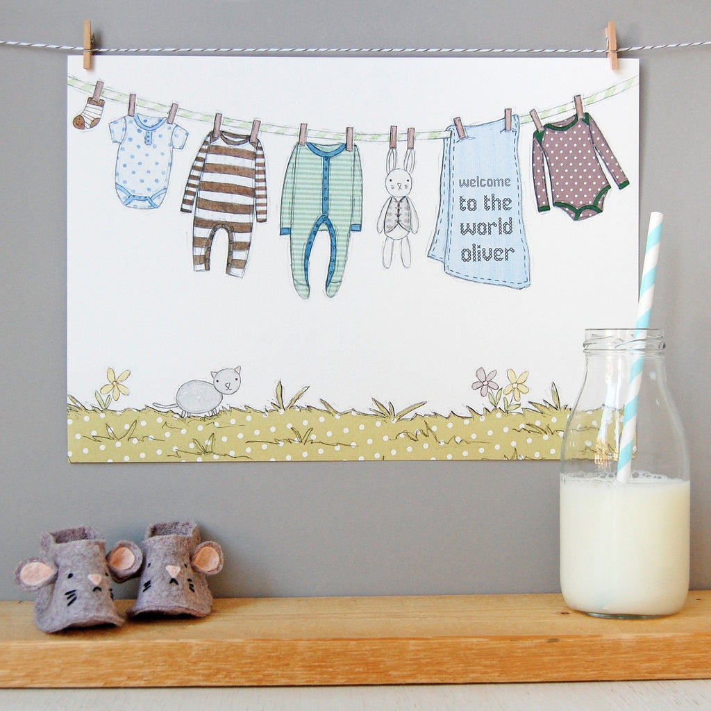 Personalised Welcome To The World Boy Print - Clara and Macy