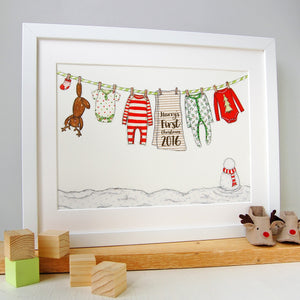 Personalised Baby's First Christmas Print - Clara and Macy
