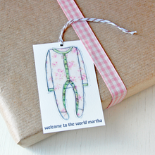 Personalised New Baby Gift Tag / Pinks And Greens - Clara and Macy