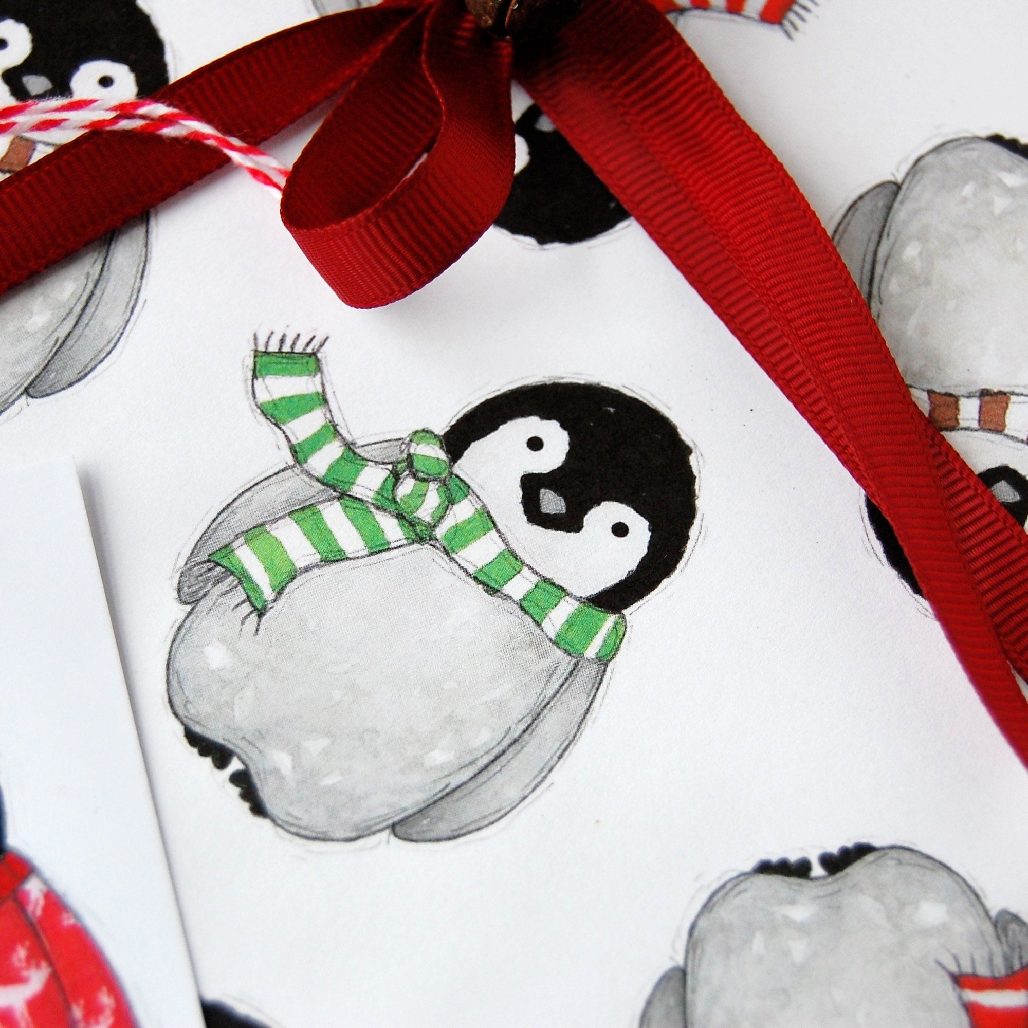 Baby Penguin Christmas Wrapping Paper Set Clara And Macy