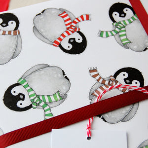 Baby Penguin Christmas Wrapping Paper Set - Clara and Macy