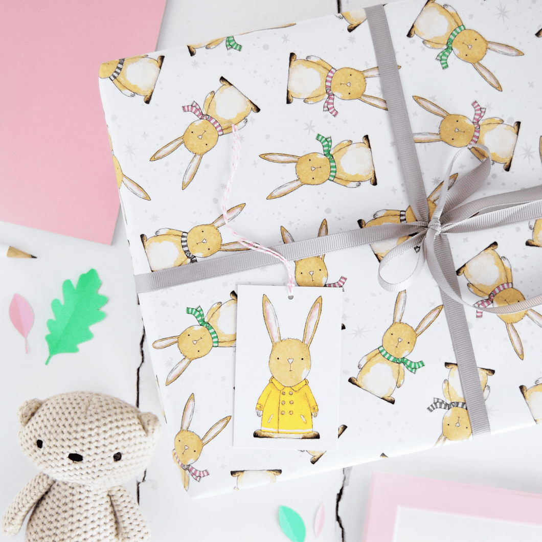 New Baby Rabbit Wrapping Paper Set - Clara and Macy