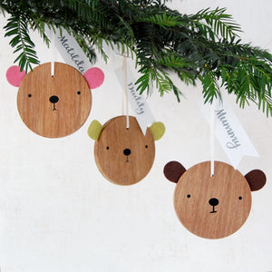 Personalised Bear Christmas Decoration - Clara and Macy